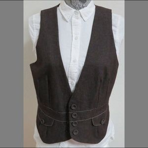 Sz M Brown Career Denim Style Womens 93Y Suit Vest